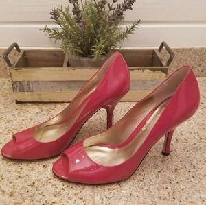 Nine West Red Leather Peep Toe Heels